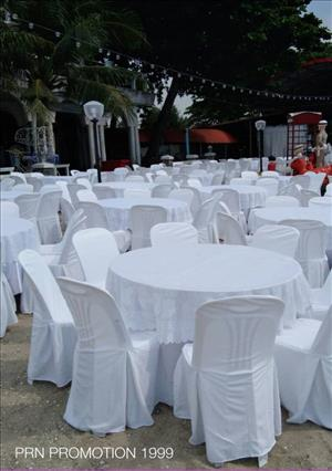 Round table set + plastic chair, 8 seats + cover for rent